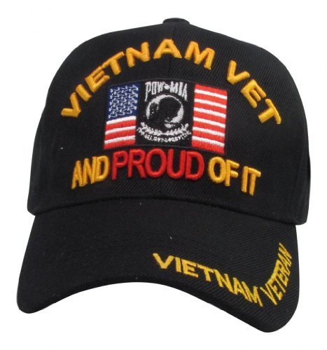 US Warriors Vietnam Veteran and Proud of It with POW-MIA Symbol and USA Flag Baseball Cap One Size (Pow Mia Symbol)