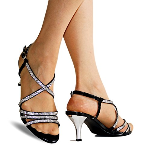 Fiesta Dorado Negro Tacón 53 Plateado Pedrería On Styles Sandalias Tiras En Zapatos Tobillo Rock De Mujer Bajo 30 Baile Gatito qAwfY1txt