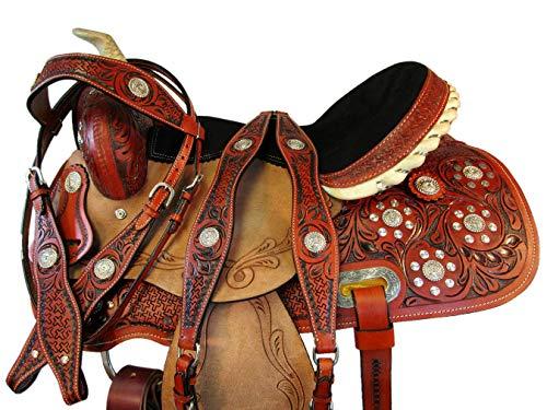 Custom Barrel Saddle - Custom Made Leather 16 15 Barrel Racing Show Floral Tooled Horse Western Saddle (15