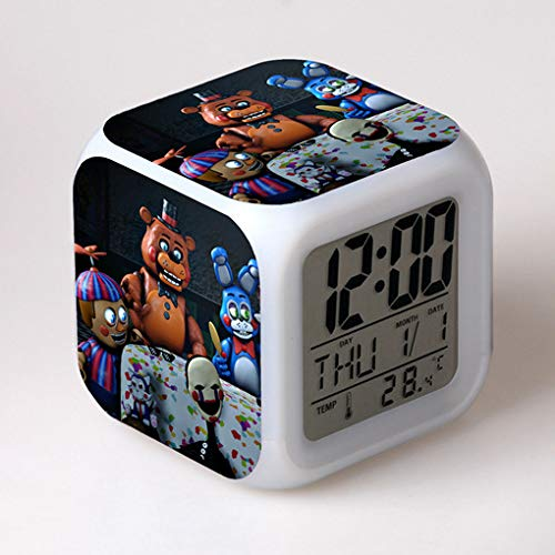 jiangying store Teddy Bear Midnight Palace 2 Alarm Clock Children Student Gift Color Change Colorful Alarm Clock Square Clock Gift Gift ()