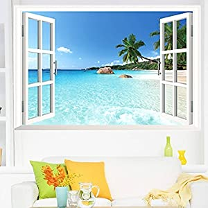 large removable beach sea 3d window decal home decor exotic beach view art wallpaper mural view scenery home decoration art diy decor wall stickers for