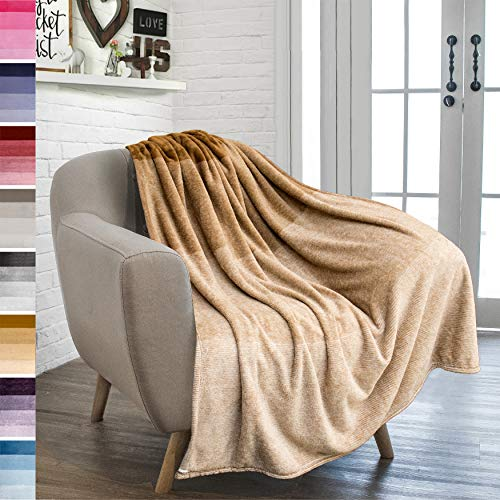 PAVILIA Flannel Fleece Ombre Throw Blanket for Couch | Super Soft Cozy Microfiber Couch Blanket | Gradient Decorative Accent Throw | All Season, 50x60 Inches Camel Brown