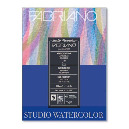 140 Lb Watercolor Pad (Fabriano 91230020 Tape Binding Acid-Free Cold Press Studio Watercolor Pad, 12 Sheets, 140 Pound, 8