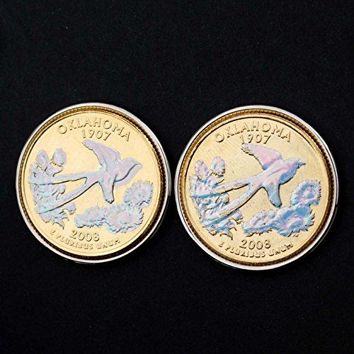 US 2008 Oklahoma State Quarters Bu Unc Hologram Coins Cufflinks NEW