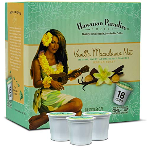 Hawaiian Paradise Coffee Vanilla Macadamia Nuts {18 K Cups } Medium Sweet Aromatically Flavored | World Class Premium Grounds Gourmet | Made From The Finest Beans Farm Fresh Earth Friendly Coffee
