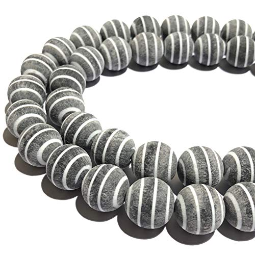 [ABCgems] Extremely Rare Matte Carabao Buffalo Horn (Carved Out from The Entire Tip of Each Horn) Precision-Cut 15mm Smooth Round Beads for Beading & Jewelry Making