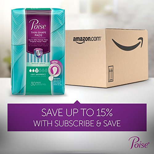 Poise Ultra Thin Incontinence Pads, Light Absorbency, Unscented, Regular (30 Count) (Pack of 4) by Poise (Image #14)
