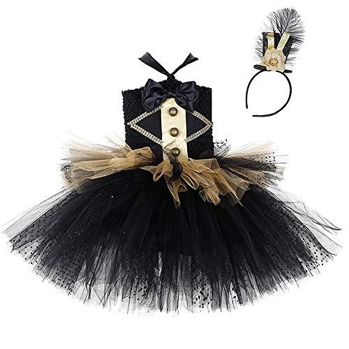 AQTOPS Girls Circus Lion Tamer Costumes Ringmaster Dress Up Black -