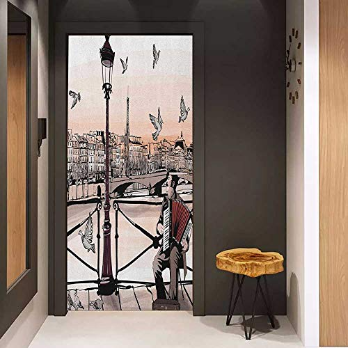 Onefzc Wood Door Sticker Music Accordionist Playing Paris Street Urban European Famous City Panorama Graphic Scene Easy-to-Clean, Durable W23 x H70 Peach Brown