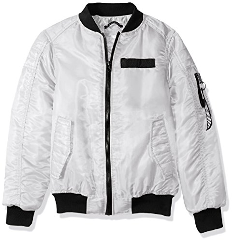 Southpole Boys Ma-1 Bomber Flight Jacket with Biker Detail, White ()