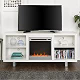 New 58 Inch Wide Simple Modern Fireplace Television Stand in White Finish For Sale