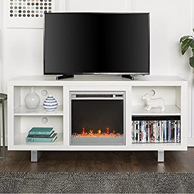 New 58 Inch Wide Simple Modern Fireplace Television Stand in White Finish - Item ships within 1 business day! Any order that is received before 12:00 noon MST will ship out same business day!! Constructed of high-grade MDF and durable laminate Contemporary, crystal fireplace insert included - tv-stands, living-room-furniture, living-room - 511p22vpJeL. SS400  -