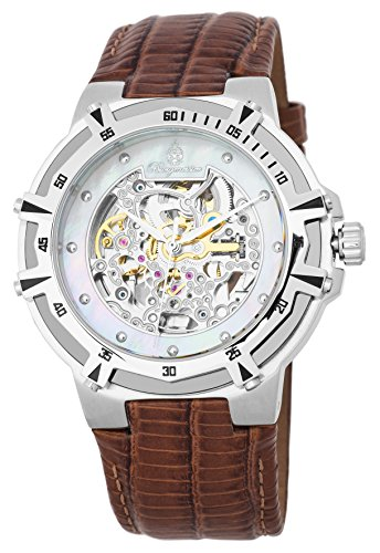Burgmeister Men's Automatic Stainless Steel and Leather Casual Watch, Color:Brown (Model: BM235-105)