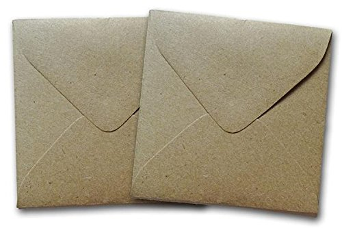 Small Brown Bag Kraft 3 1/8 inch Square Envelopes 100% Recycled - 50 Pk ()