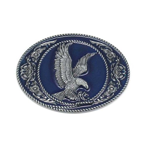 Western Eagle belt buckle Leaf Oval For Men Blue Enamel ()
