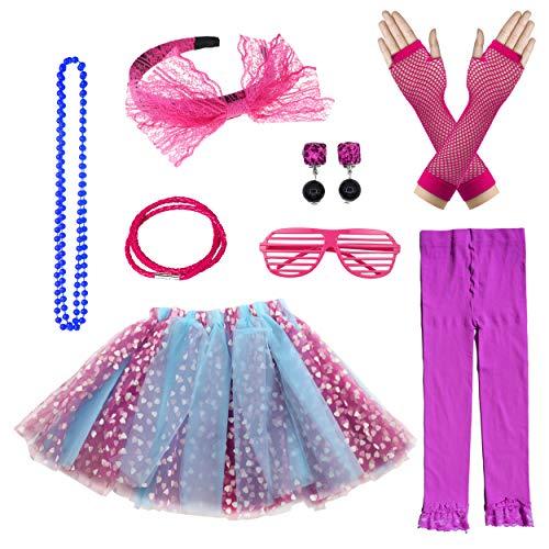 (Big Girls 1980s Fancy Tutu Skirt Costume Accessories Set (Purple))