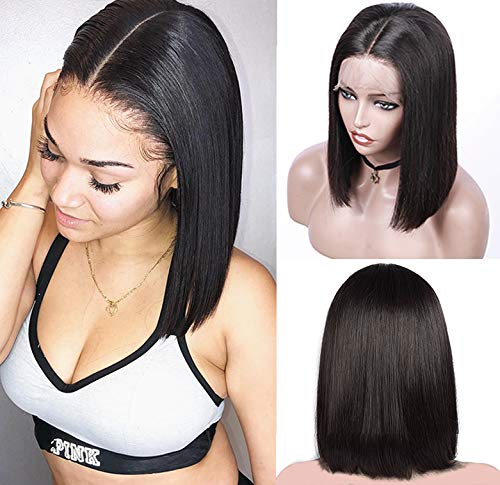 13x6 Deep Part Short Bob wigs Lace Front Virgin Human Hair Pre Plucked Hairline Natrual Black 180% Density 8 Inch Bleached Knots Straight #1B Color for Black Women(Could Be Restyle)