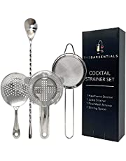 Cocktail Strainer Set Stainless Steel Bar Tool with Stirring Spoon - Hawthorne Strainer, Julep Strainer, Fine-Mesh Strainer / Sifter