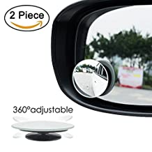 """2 PACK 2"""" Convex Blind Spot Mirrors Wide Angle Rear View 360° Rotate + 30° Sway Adjustabe Car SUV Stick On Lens"""