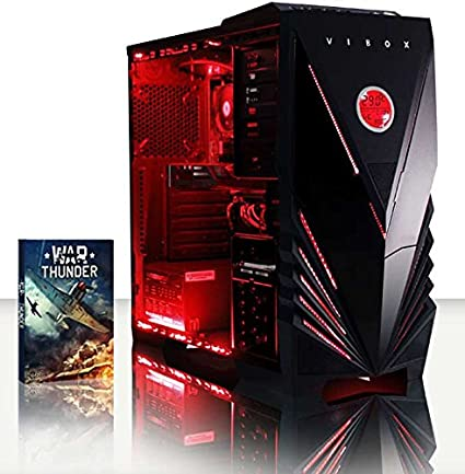 Vibox Scorpius 1 – Gaming PC con Juego War Thunder, procesador Quad Core AMD FX 4 GHz, Tarjeta gráfica Nvidia GeForce GTX 750, 1TB HDD, 8 GB RAM, Torre Commando, neón Rojo: Amazon.es: Informática