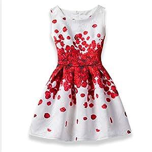 TMKOO 2018 Niñas Vestido Verano Mariposa Floral Imprimir Adolescentes Vestidos para Niñas Diseñador Formal Vestido de Fiesta Niños 6-12Año de Edad (tamaño : 160)