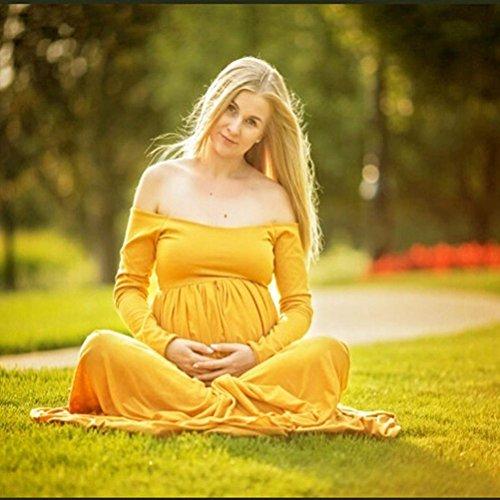 Maxi Amarillo Manga del Fotografía Embarazada WINWINTOM Fuera Mujer hombro Vestir Maternidad Vestido larga A7pqnwxfv