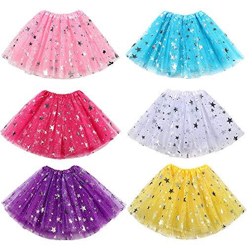ACEHOOD 6 Pcs Tutus for Girls 3 Layer Ballet Tutus Skirts Birthday Party Favor Princess Dress Up (6 Pcs A) -