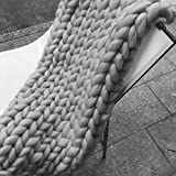 50x70in Super Chunky Knit Blanket 100% Pure Merino Wool Blanket Handmade Throw Extreme Knitting Blanket Chunky Blanket Super Bulky Throw Chunky Yarn