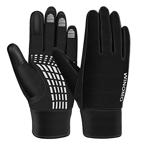Vosarea Sporting Glove Full Finger Touch Screen Gloves Fitness Weightlifting Racing Training Climbing Riding Parkour Running Size L (Black)