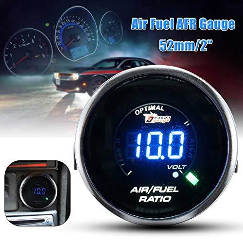Universal 12V Car 52mm 2inch Air Fuel Ratio AFR Gauge Meter LED Digital Display Smoke Lens