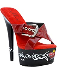6 Inch Sexy High Heel Shoes Platform Tattoo Shoes Goth BIKER Red