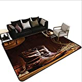 Indoor Carpet Western Decor,American Rodeo Cowboy Traditional Leather Working Roper Boots