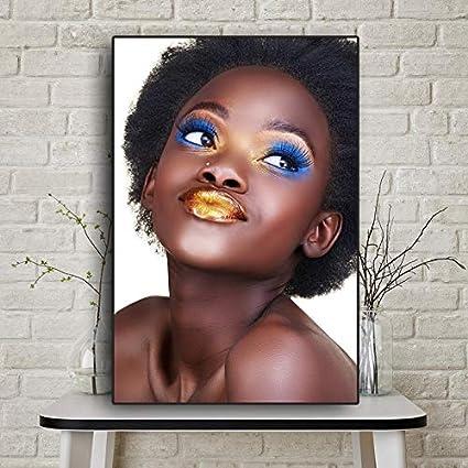 Peinture /à lhuile de Femme Nue Africaine en Or Noir sur Toile Affiches dart et Impressions peintures Nordiques sur Le Mur du salon40x60cmSans Cadre
