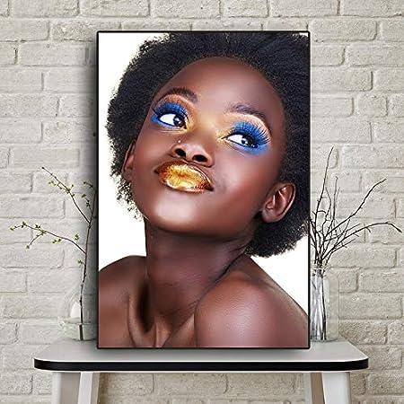KWzEQ Arte Africano Mujer escandinava Cartel Pintura al óleo sobre Lienzo,Pintura sin Marco,75x112cm