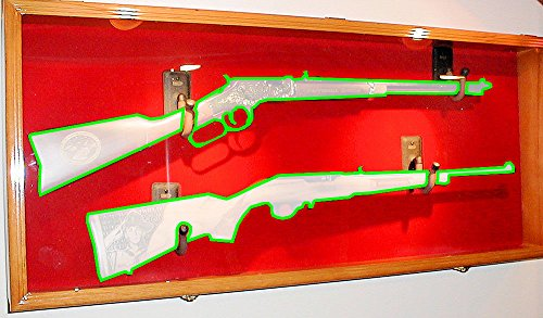 2 Rifle Musket Gun Shotgun Display Case Cabinet Rack Airsoft Replica Wall Mount (Cherry Finish, Red Background)