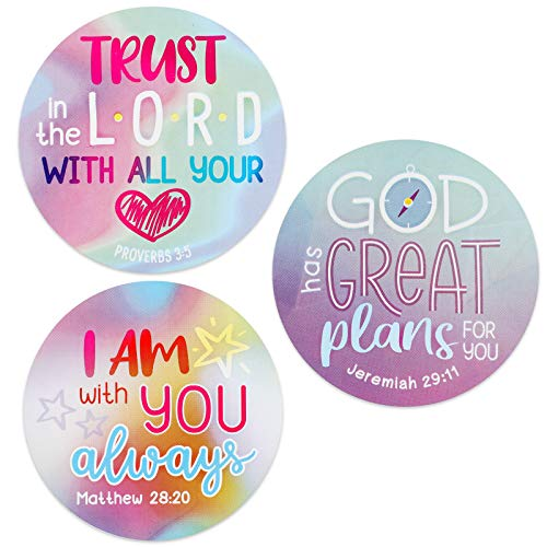 Round Christian Bible Verse Stickers for Kids (2 in, 500 Pieces) Multicolored