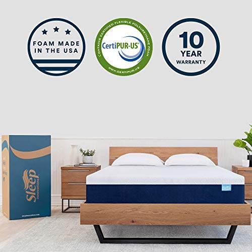 Sleep Innovations Shiloh 12-inch Memory Foam, Bed in a Box, Soft Cover, Made in the USA, 10-Year Warranty-Queen Size Mattress, White