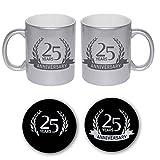 YaYa cafe Printed Silver Glitter Coffee Mug Set Of 2 with Coaster