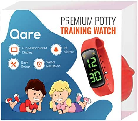 Premium Potty Training Watch - Only Watch with Multiple Alarms to Fit Your Schedule - Water Resistant - Video Manual - Kids Lock - Touchscreen - Fun Melody - New: Saved Settings - Easy Setup (Red)