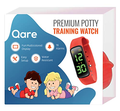 Premium Potty Training Watch – 16 Alarms – Only Watch with Kids Lock – Water Resistant – Video Manual – Touchscreen – Worry Free! – Fun Alarm Music – Colorful Display (Red)