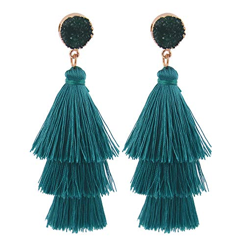 Belmarti Colorful Christmas Tree-shaped Layered Tassel Dangle Drop Druzy Stud Earrings Holiday Party Christmas Costume Jewelry for Women Girls (Three-layered Peacock Blue)