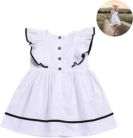 Egosy - Vestido de niña para bebé, sin Mangas, de algodón, Color Blanco, 100: Amazon.es: Hogar