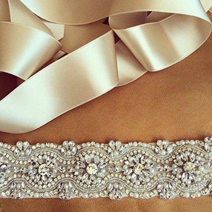 Sale Handmade Wedding Garter - ShinyBeauty 30% On Sale, Crystal Rhinestone & Pearl Bridal Sash, Wedding Belt, Ivory Crystal Bridal Sash, 17