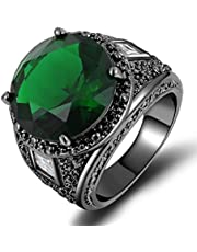 Mens black rhodium-plated ring encrusted with emerald green gemstone size 7