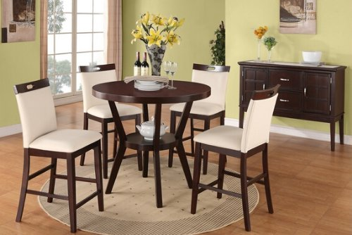 5 pc round Espresso finish wood counter height dining table set with cream faux leather upholstered chairs