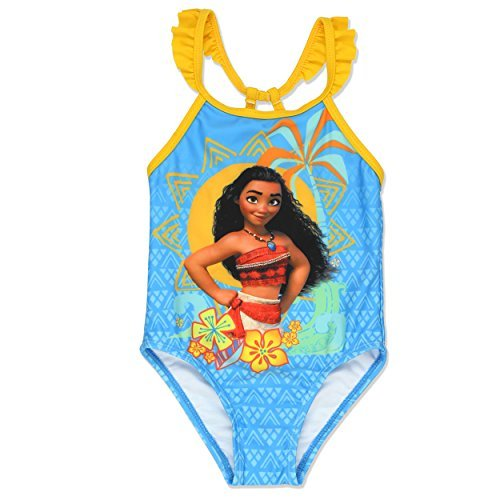 Disney Moana Toddler Girls One Piece Swimsuit (4T, Blue)