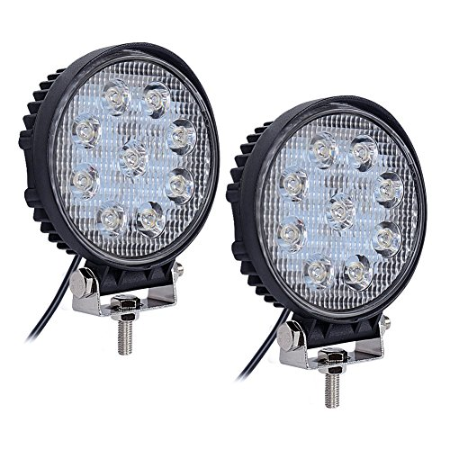Nilight 2PCS 27W Round Spot LED Light Bar Driving Lamp Waterproof Jeep Off Road Fog Lights for Truck Car ATV SUV Jeep Boat 4WD ATV, 2 Years Warranty