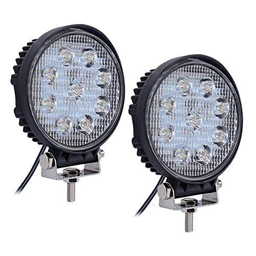 Nilight 2PCS 27W Round Spot LED Light Bar Driving Lamp Waterproof Jeep Off Road Fog Lights for Truck Car ATV SUV Jeep Boat 4WD ATV, 2 Years Warranty