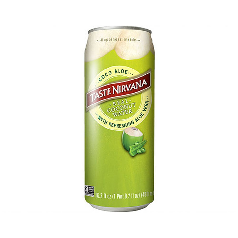 Taste Nirvana Real Coconut Water, Coco Aloe with Refreshing Aloe Vera, 16.2 Ounce Cans (Pack of 12)