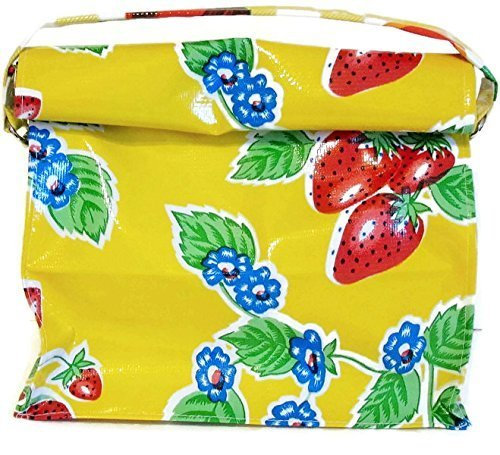 Yellow Oil Cloth Lunch Snack Bag StrawberryTheme with Strap Reusable